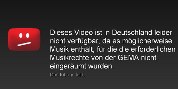 Mensaxe da GEMA no youtube en alemán